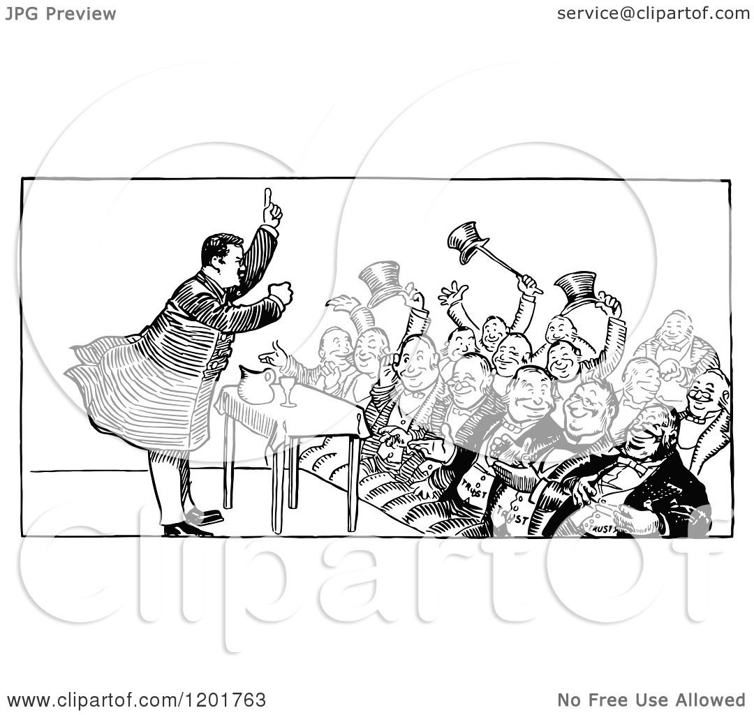 Clipart Of A Vintage Black And White Crowd And Speaker
