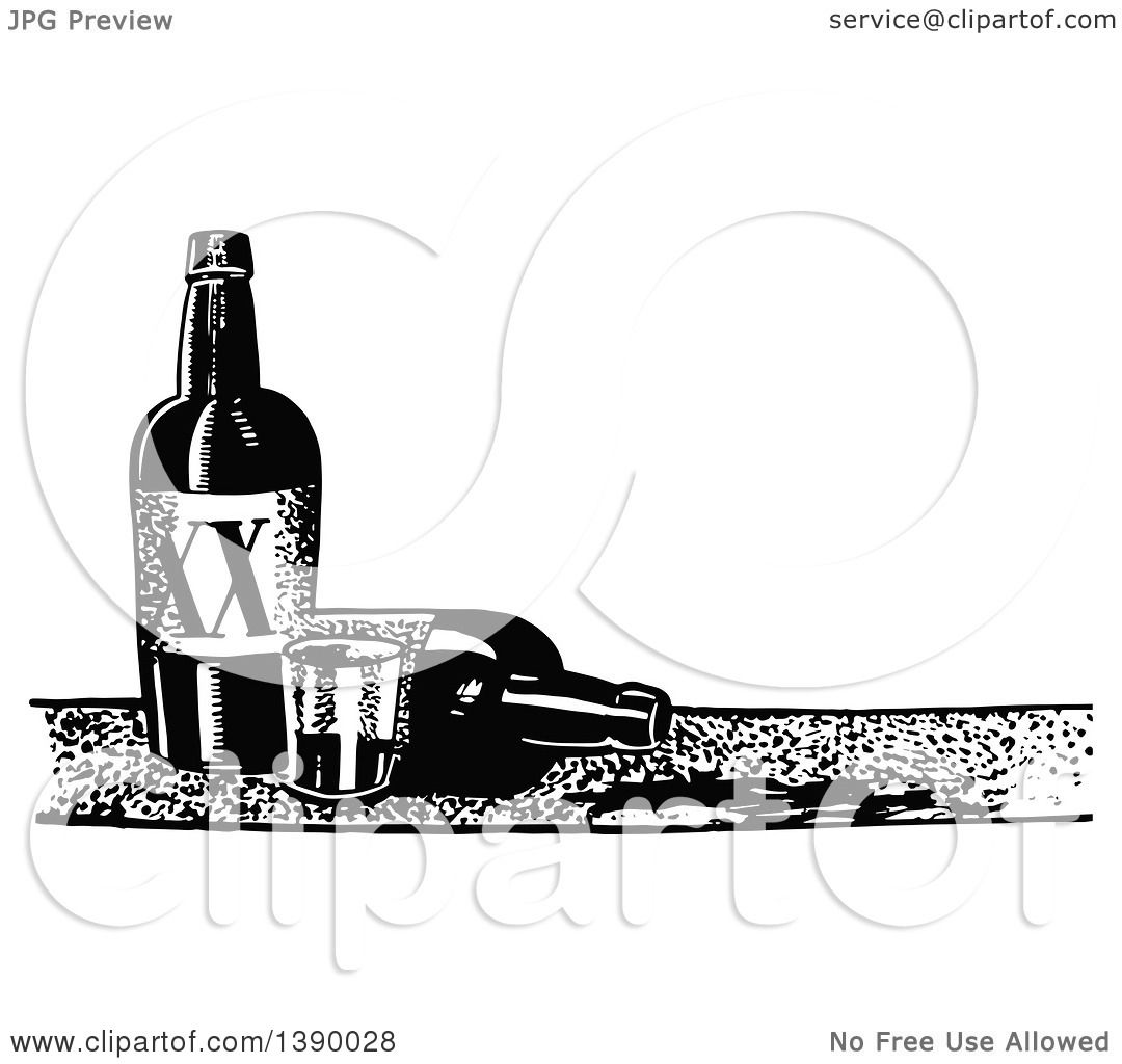Clipart Of A Vintage Black And White Cup And Bottles Of