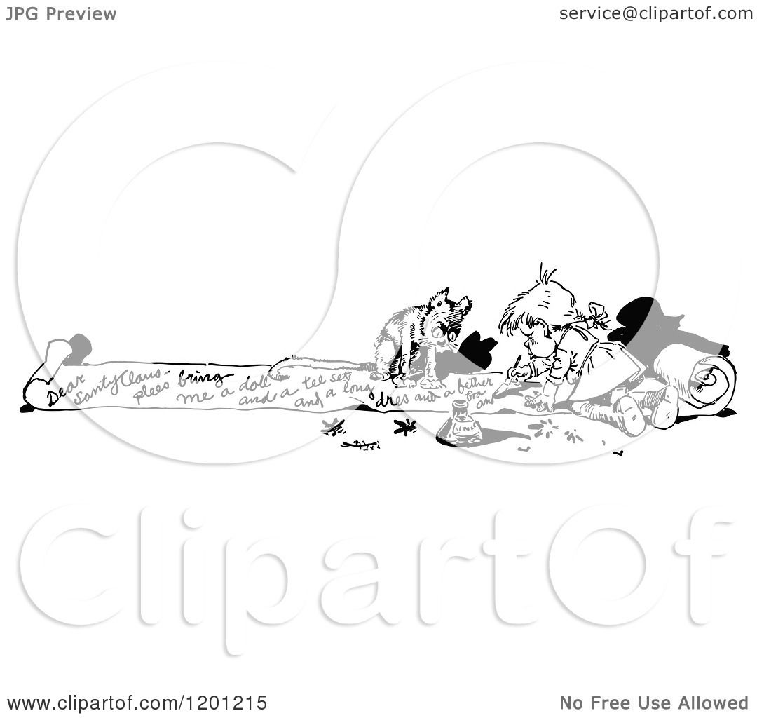 Clipart Of A Vintage Black And White Dog And Girl Writing
