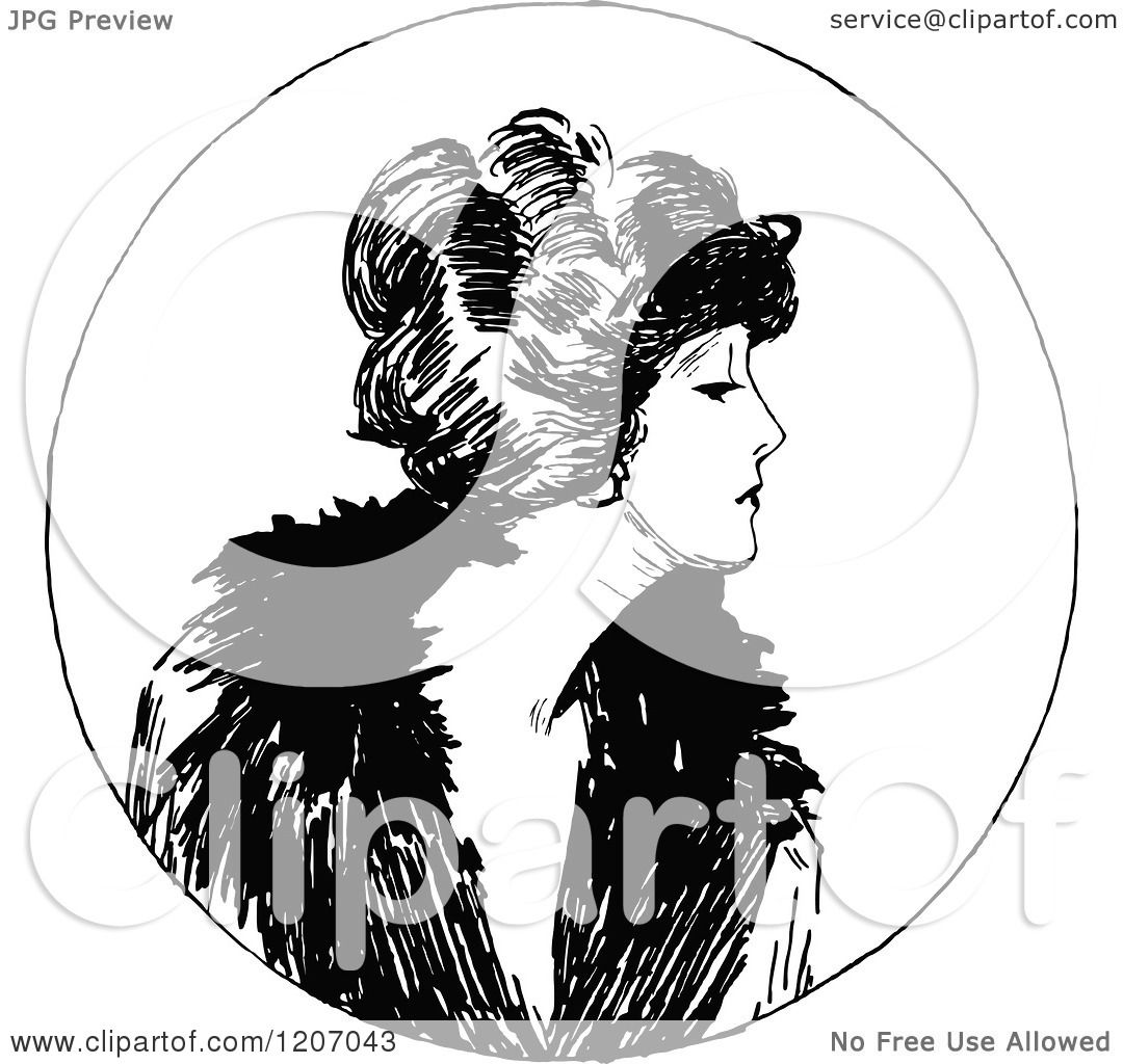 Clipart Of A Vintage Black And White Elegant Lady