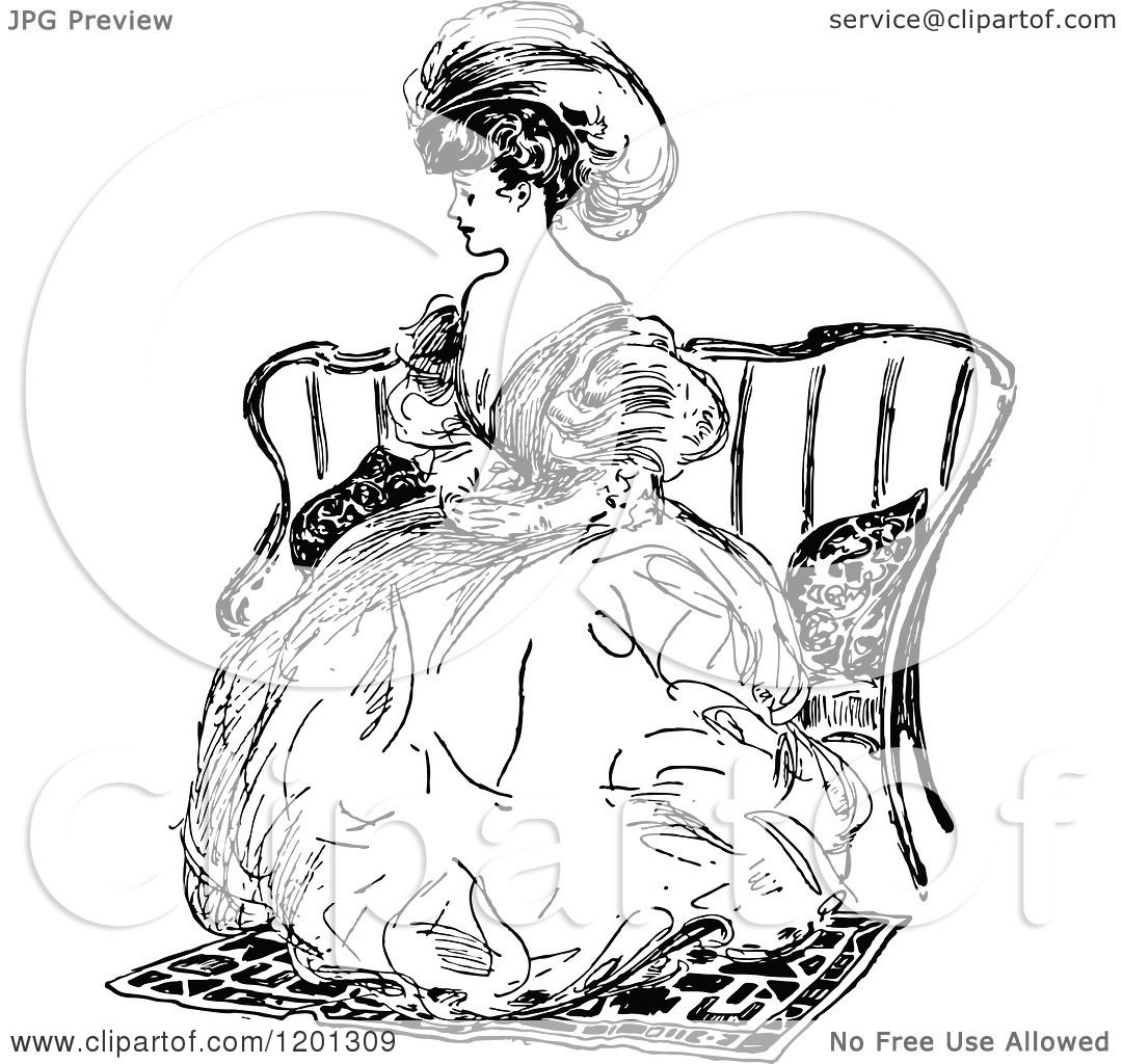 Clipart Of A Vintage Black And White Elegant Lady Sitting