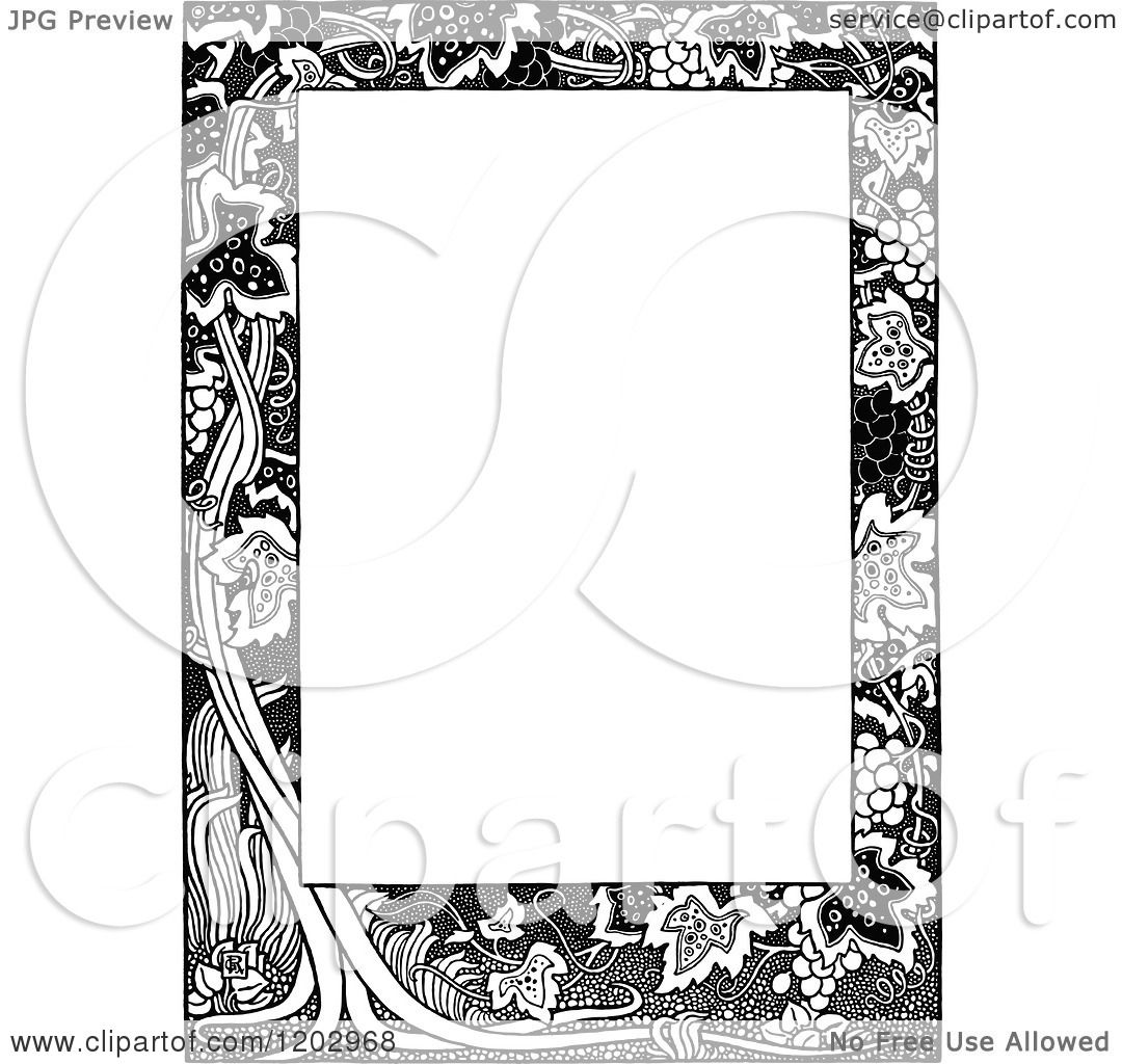 Clipart Of A Vintage Black And White Floral Gpage