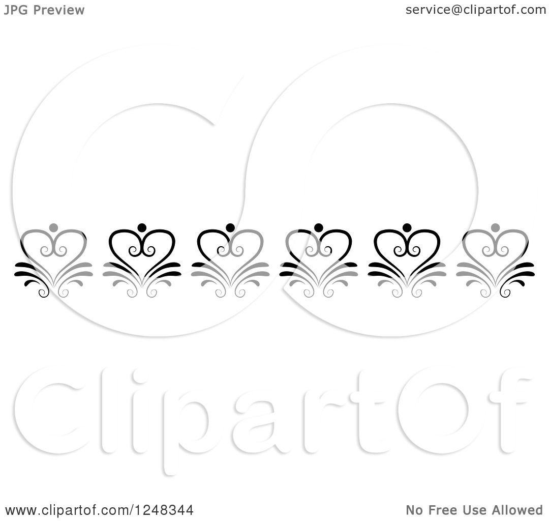 Clipart Of A Vintage Black And White Floral Heart Border