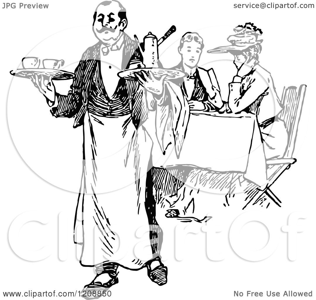 Clipart Of A Vintage Black And White French Waiter And Diners