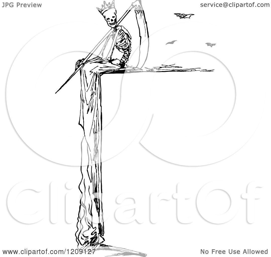 Clipart Of A Vintage Black And White Grim Reaper Border