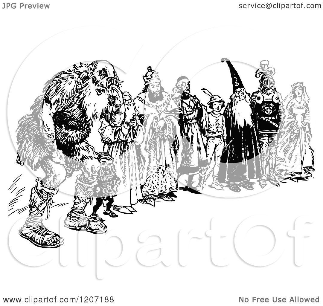 Clipart Of A Vintage Black And White Group Of Fantasy