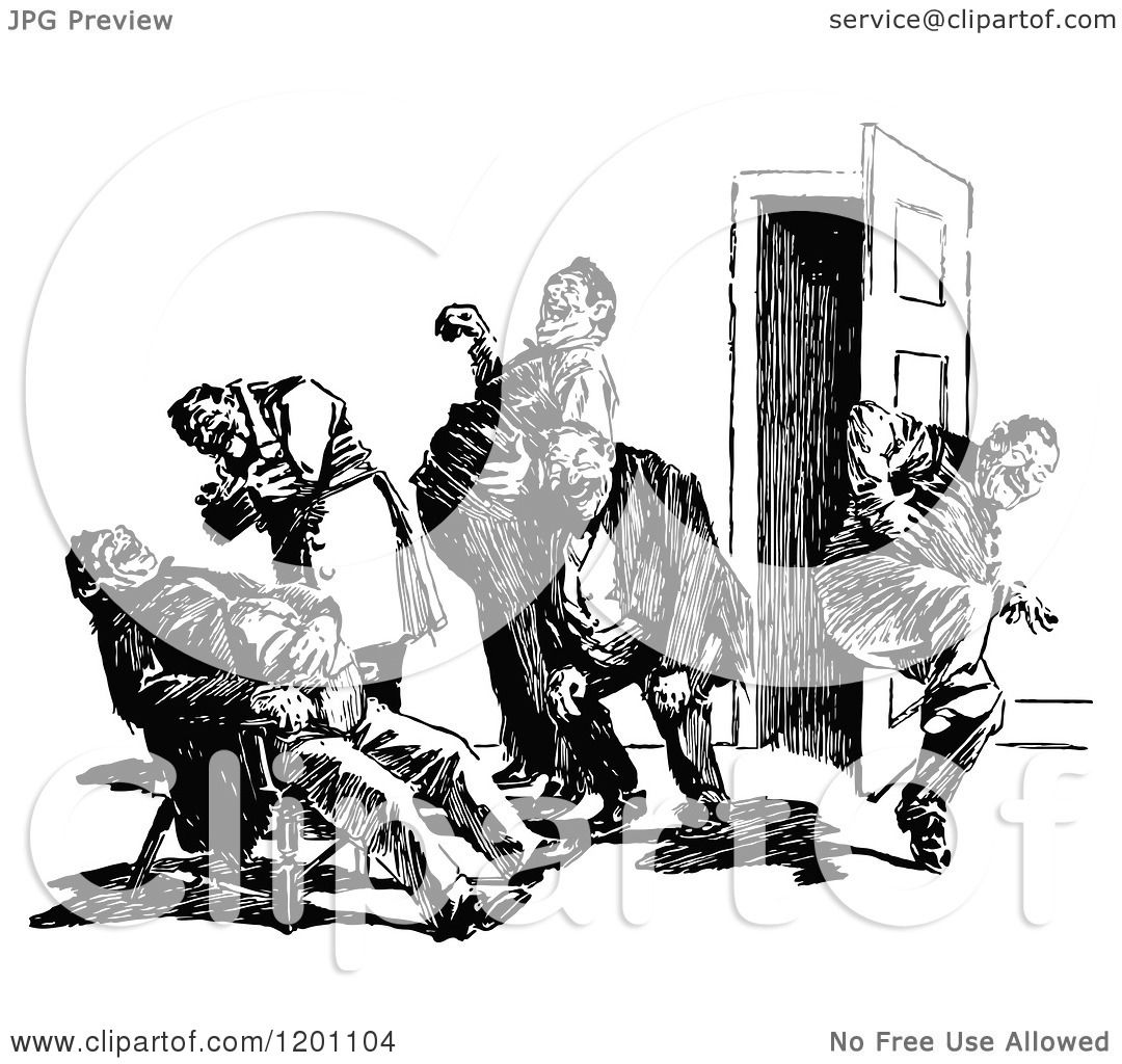 Clipart Of A Vintage Black And White Group Of Men Laughing