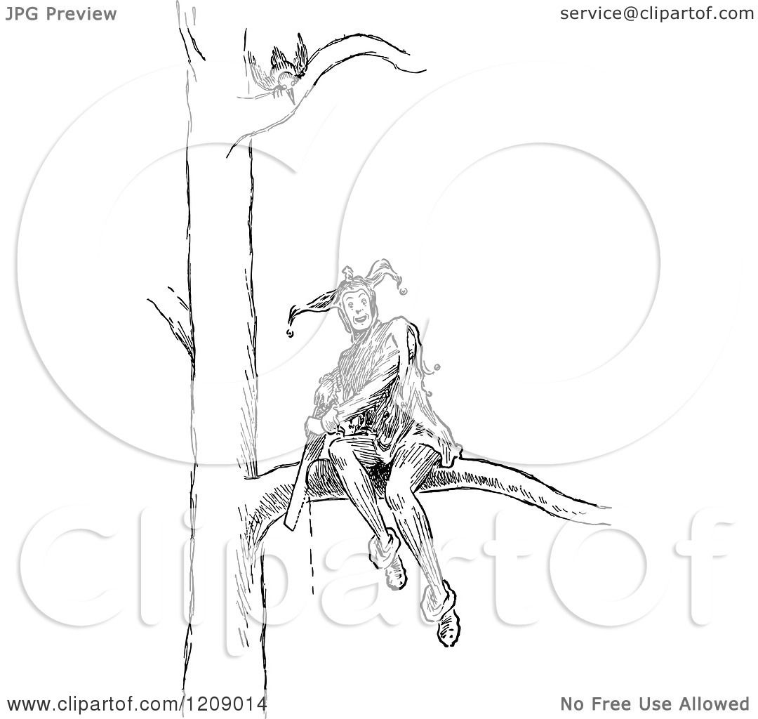 Clipart Of A Vintage Black And White Jester Sitting On A