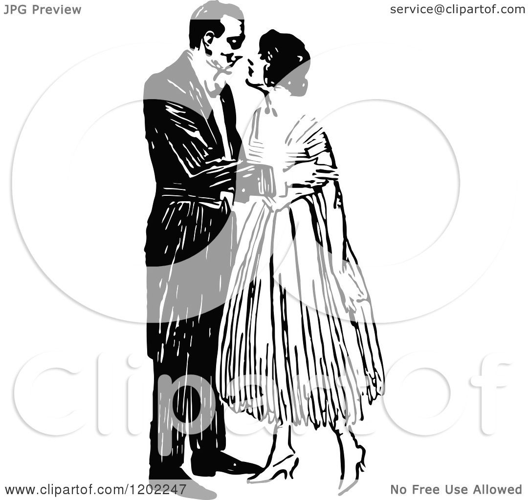 Clipart Of A Vintage Black And White Kissing Couple