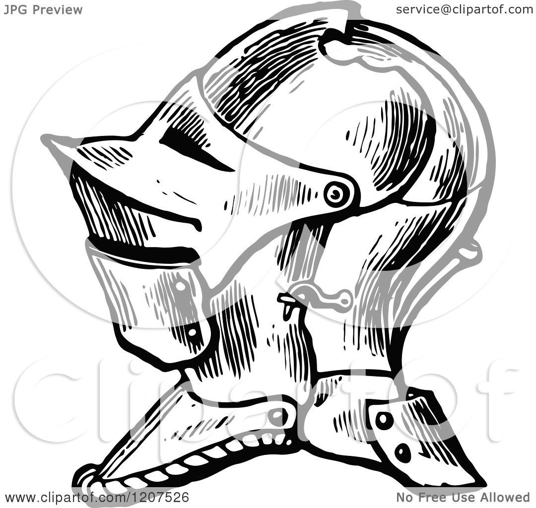 Clipart Of A Vintage Black And White Knight Helmet