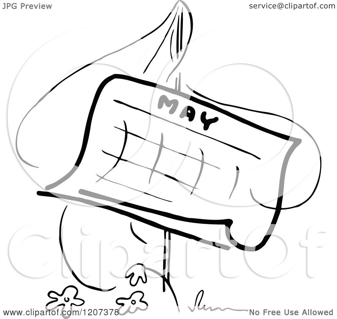 Clipart Of A Vintage Black And White May Calendar With A