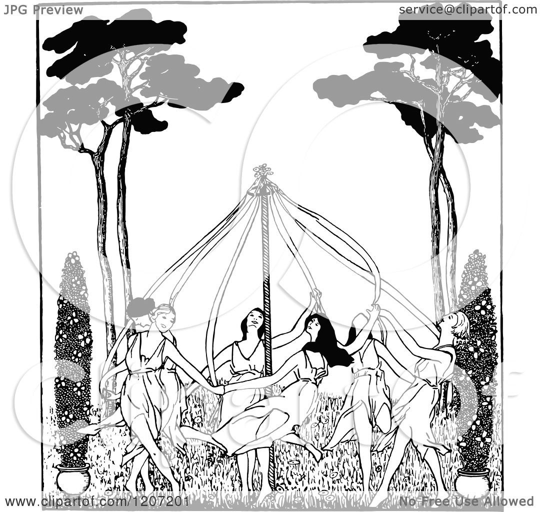 Download Clipart of a Vintage Black and White May Pole Dance ...