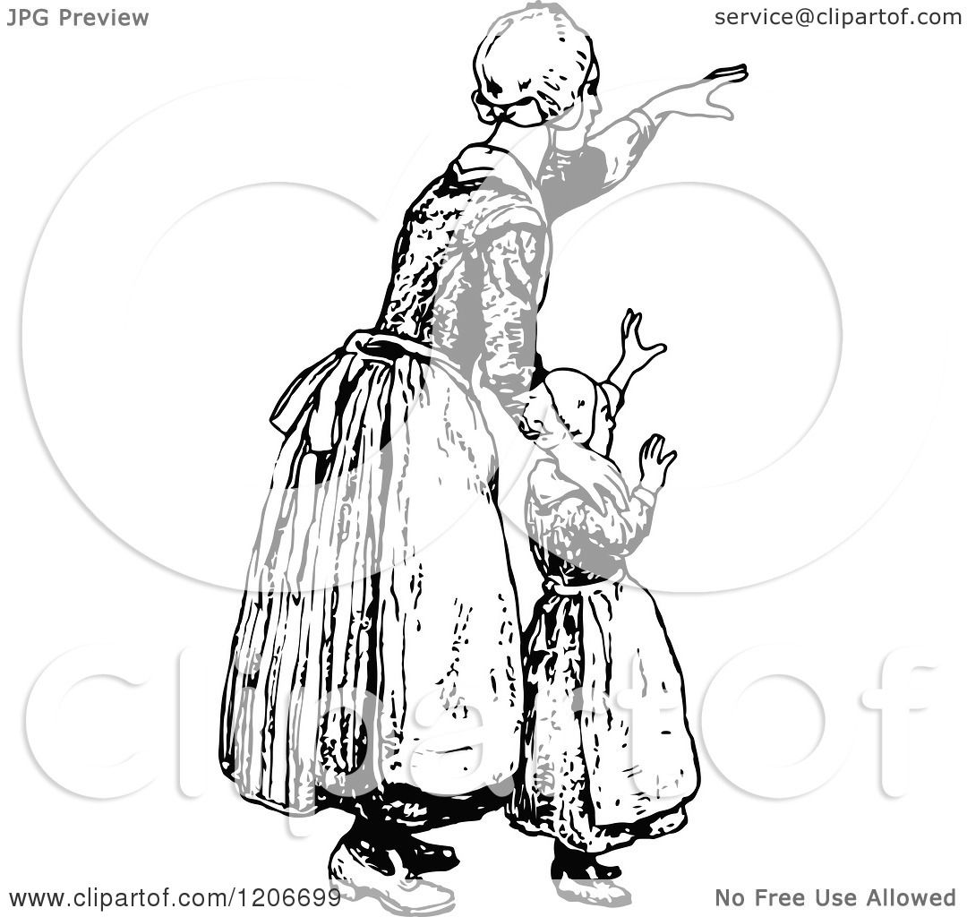 Clipart Of A Vintage Black And White Mother And Daughter