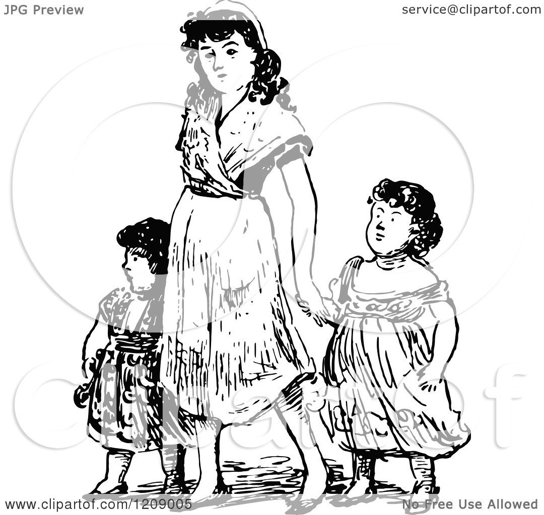 Clipart Of A Vintage Black And White Mother And Daughters