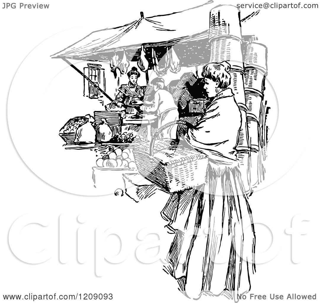 Clipart Of A Vintage Black And White Outdoor Marketplace