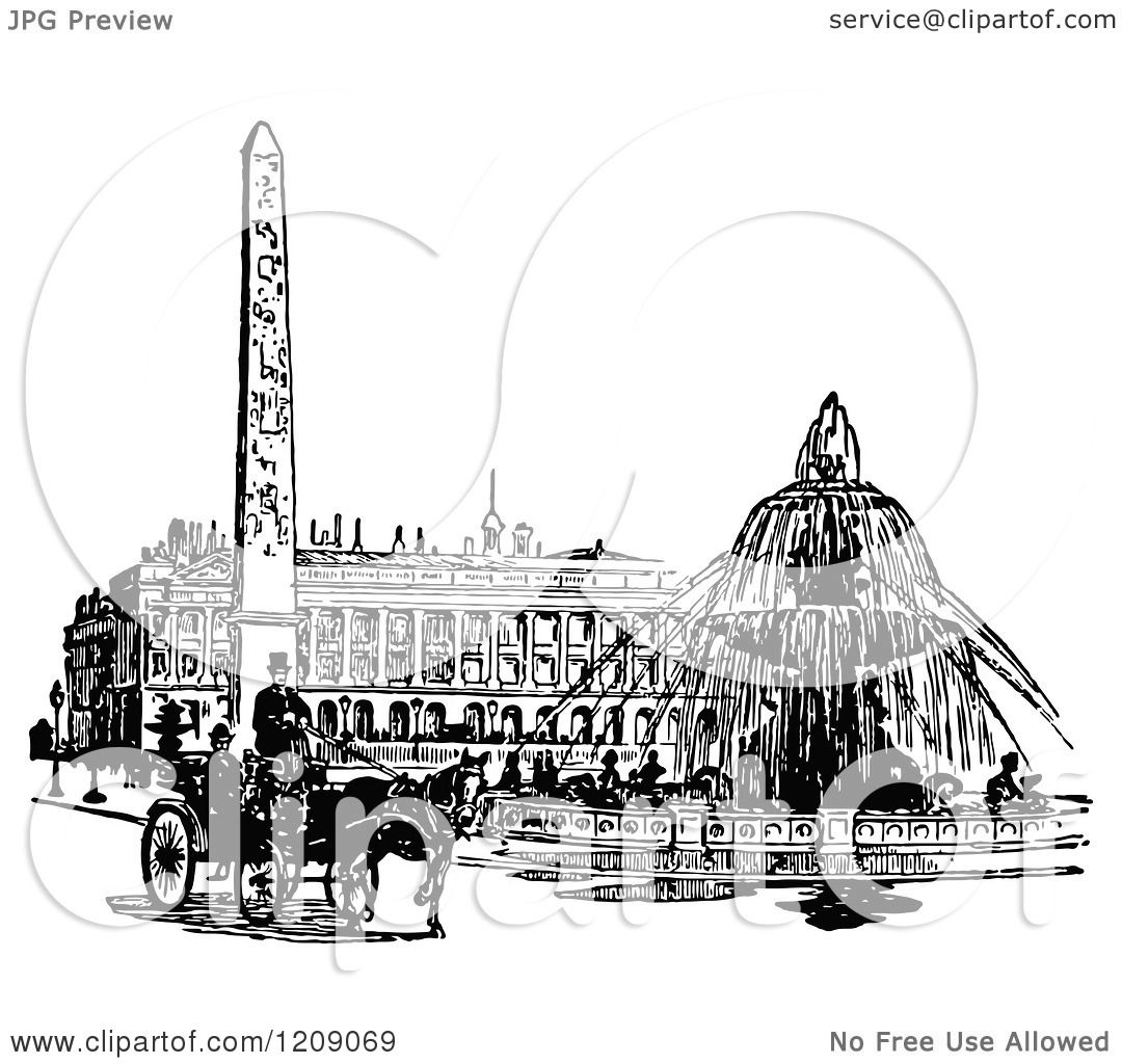 Clipart Of A Vintage Black And White Parisian Street Scene