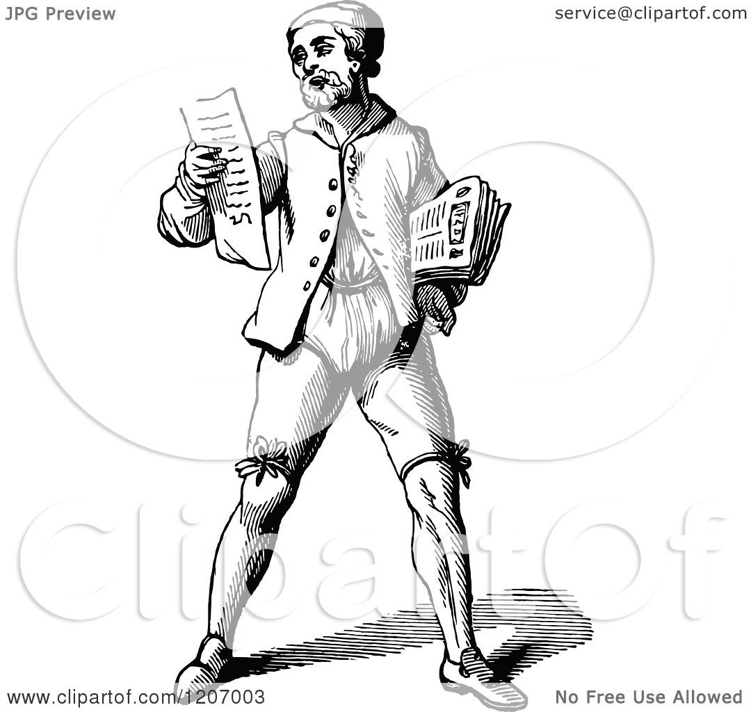 Clipart Of A Vintage Black And White Poet