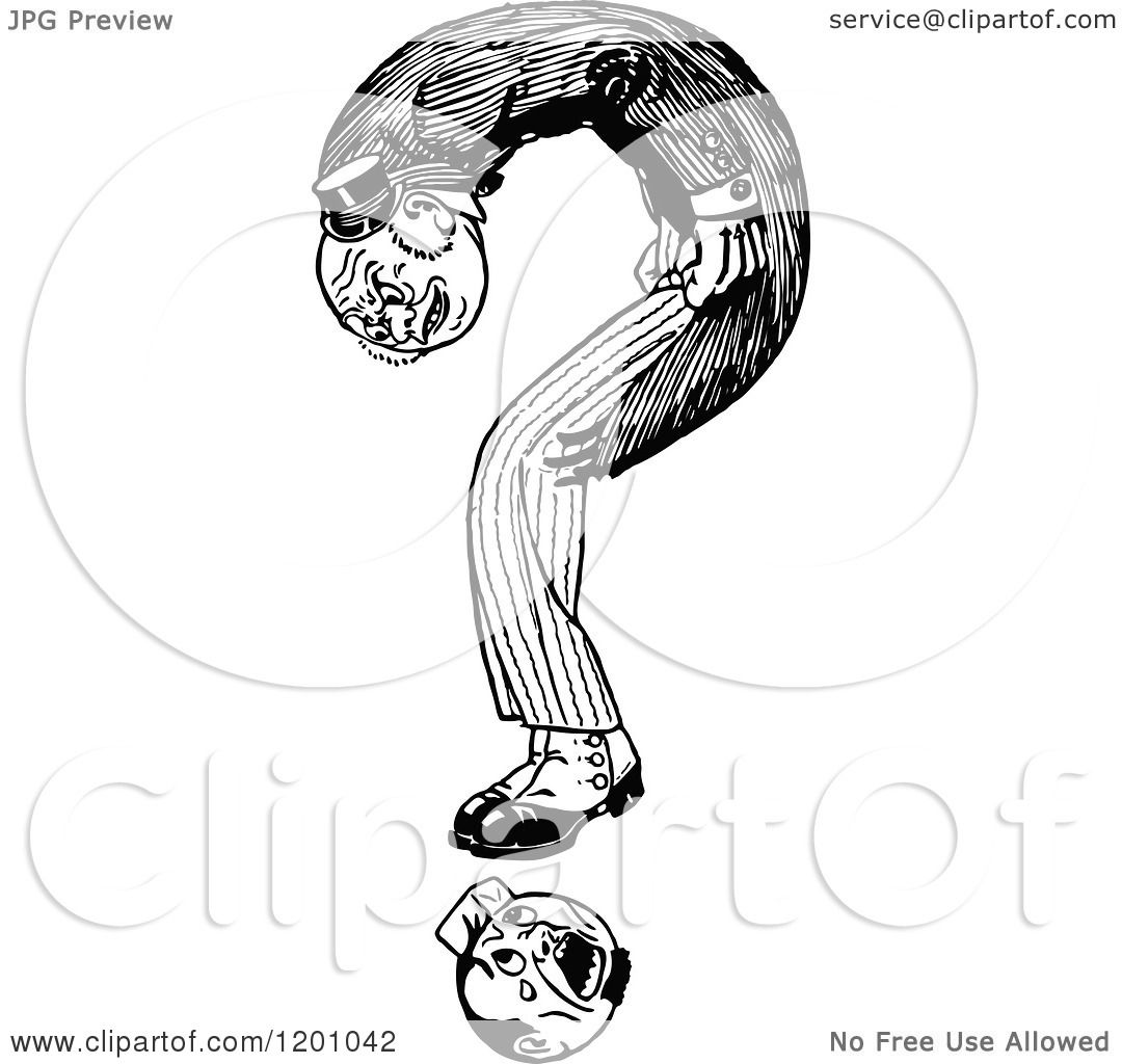 Clipart Of A Vintage Black And White Question Mark Man 2