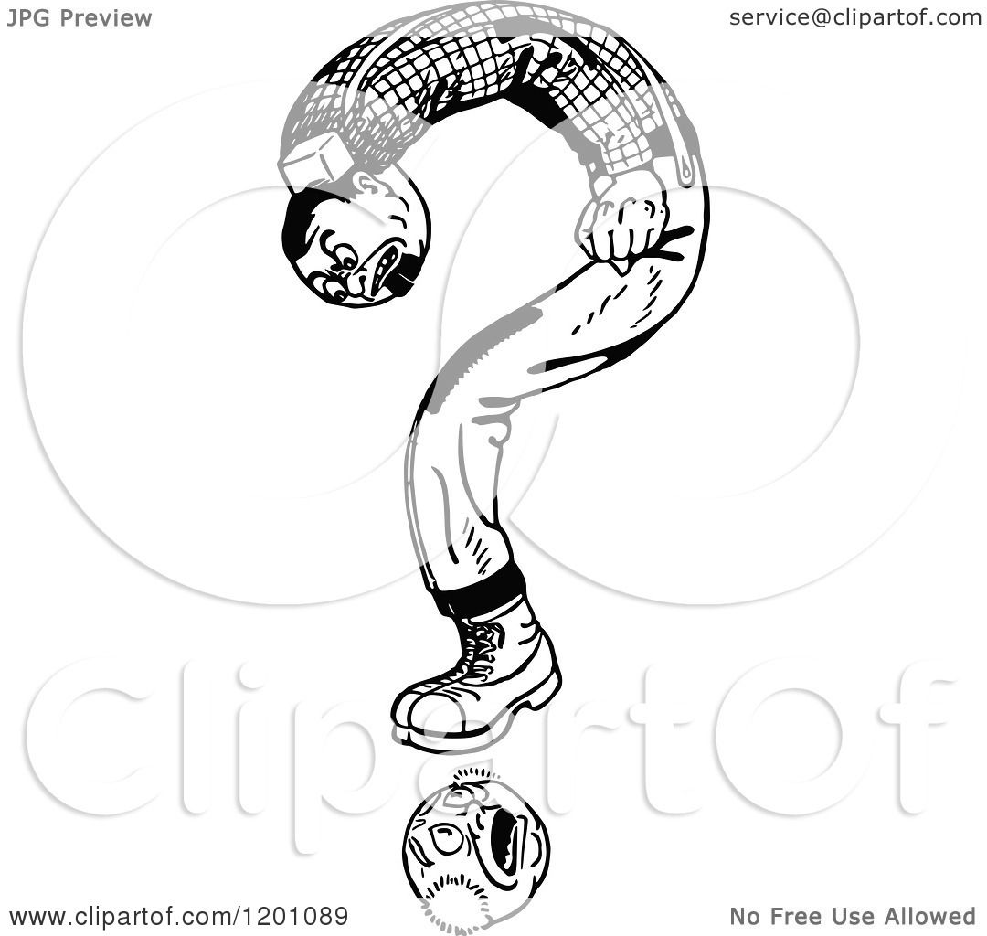 Clipart Of A Vintage Black And White Question Mark Man