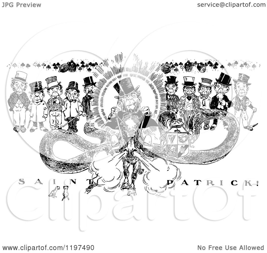 Clipart Of A Vintage Black And White Saint Patrick On A Horse