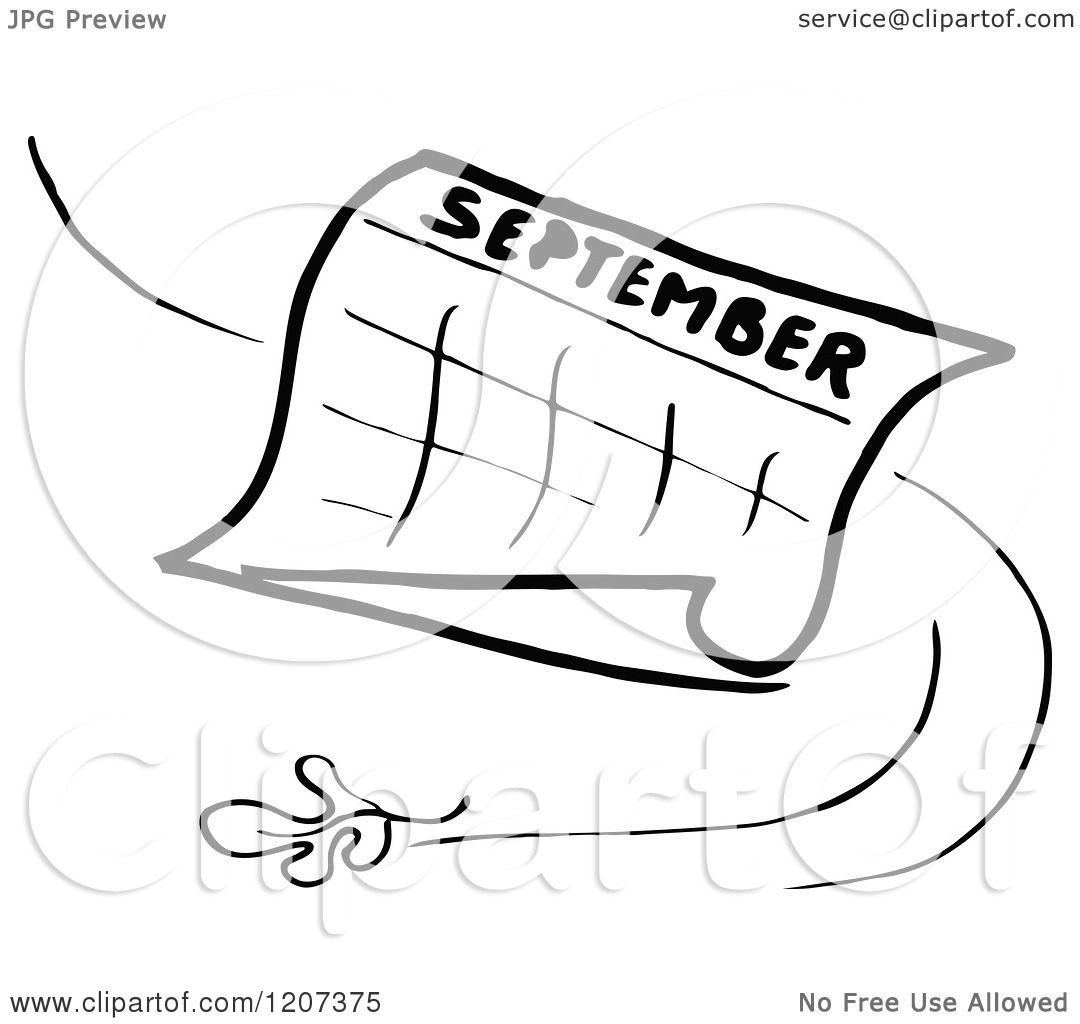 Clipart Of A Vintage Black And White September Calendar