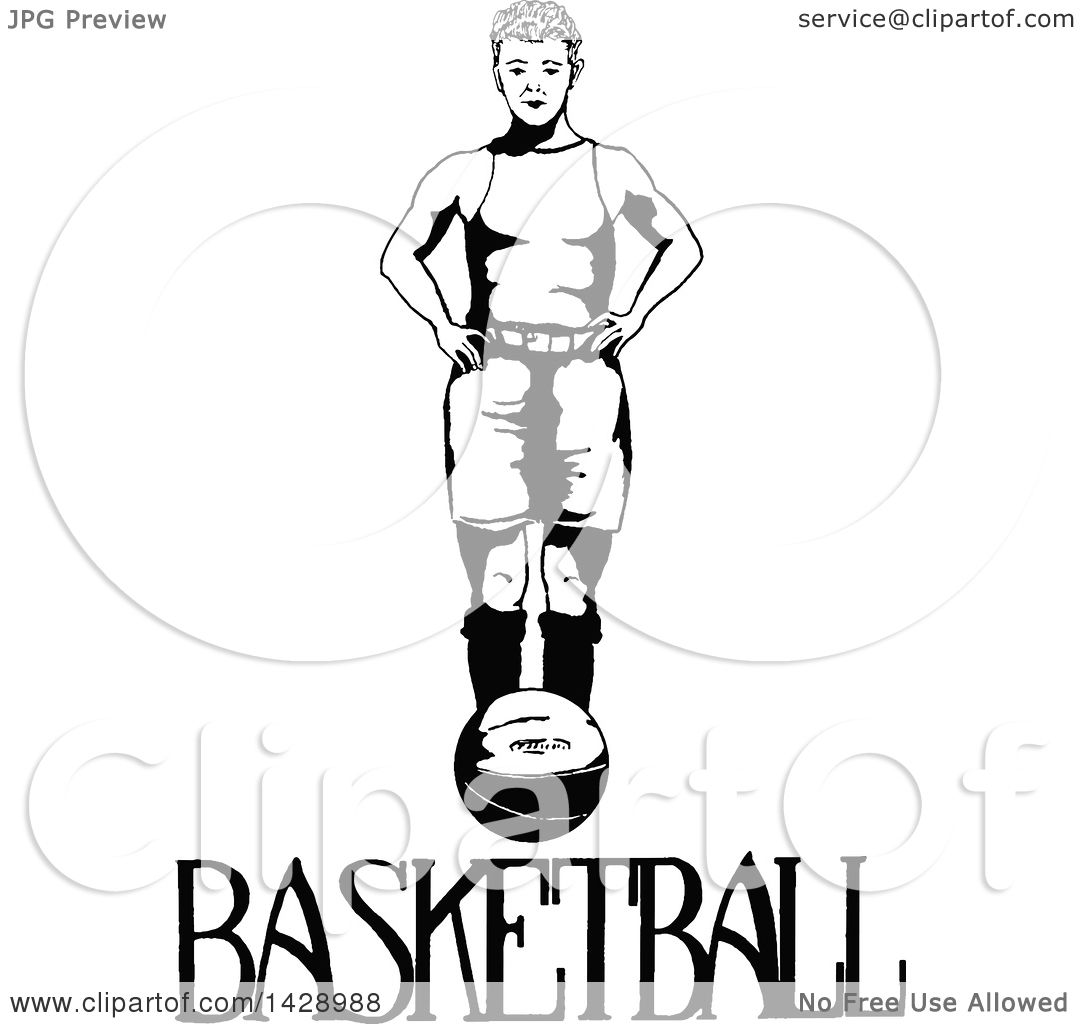 Clipart Of A Vintage Black And White Sketched Basketball Player