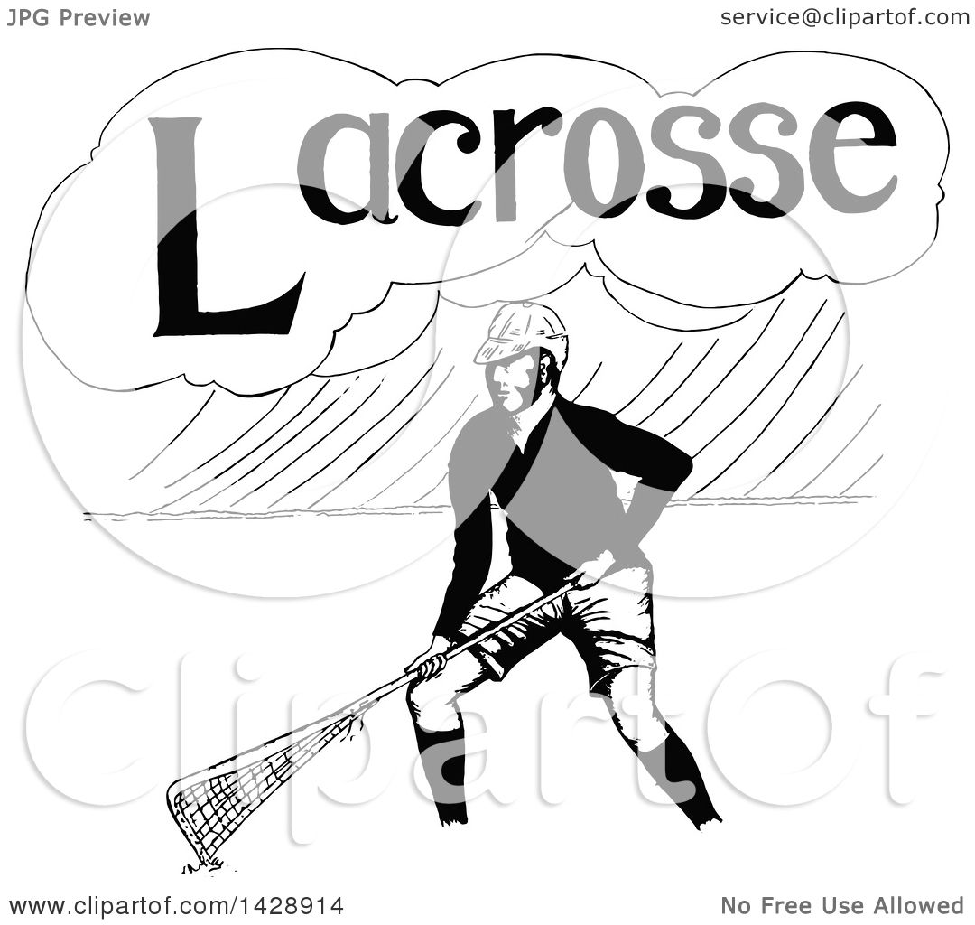 Clipart Of A Vintage Black And White Sketched Lacrosse