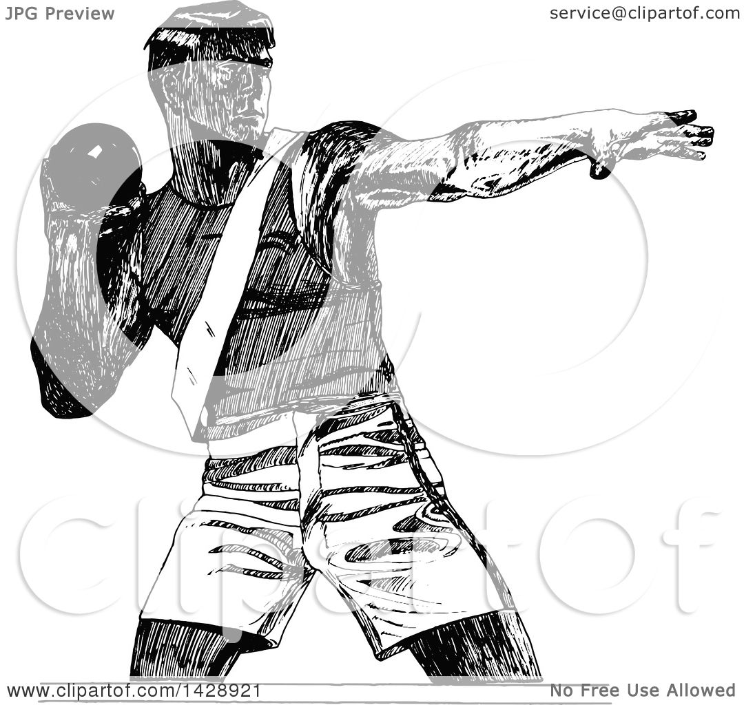 Clipart Of A Vintage Black And White Sketched Shot Putter