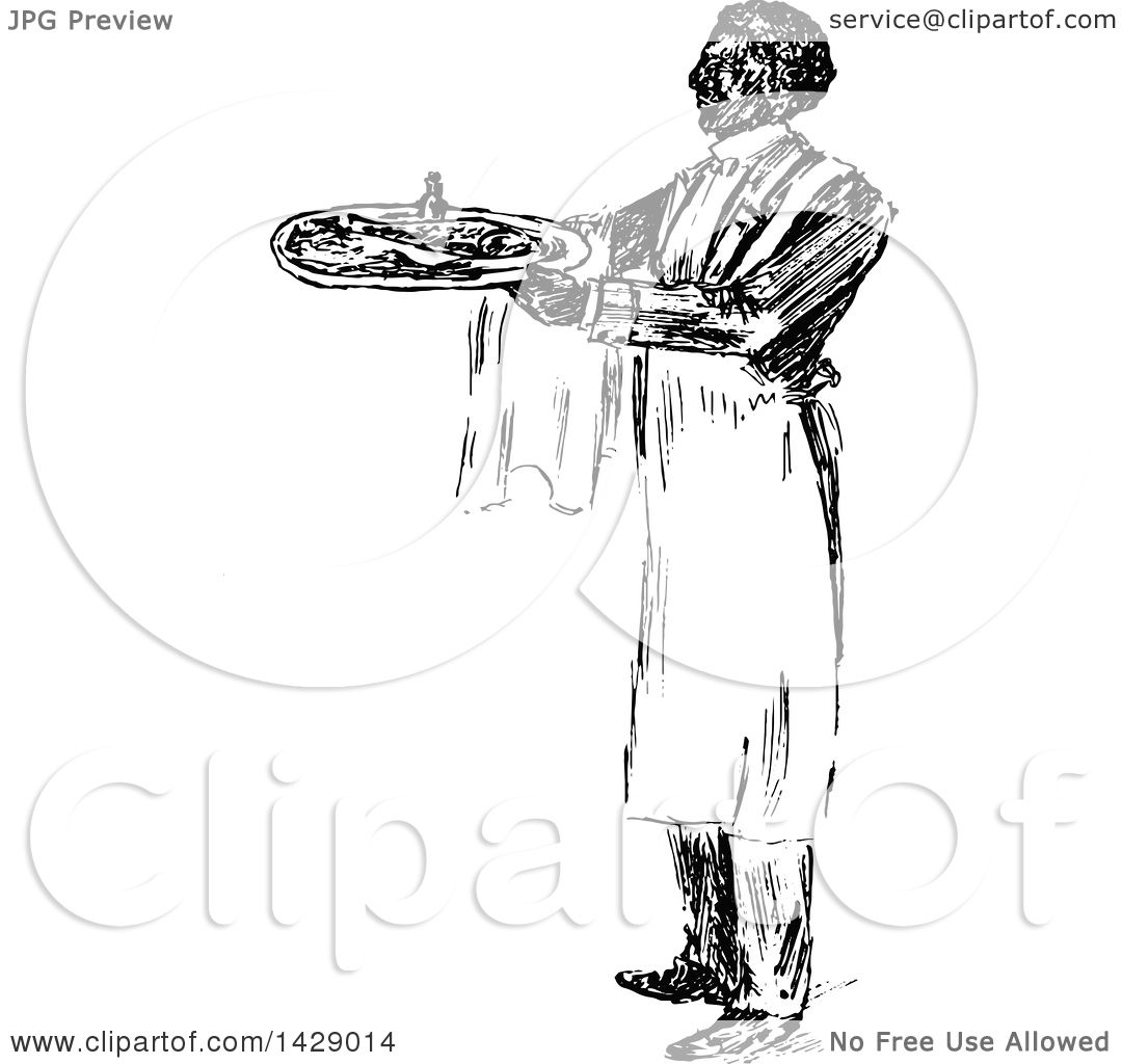 Clipart Of A Vintage Black And White Sketched Waiter Serving Food