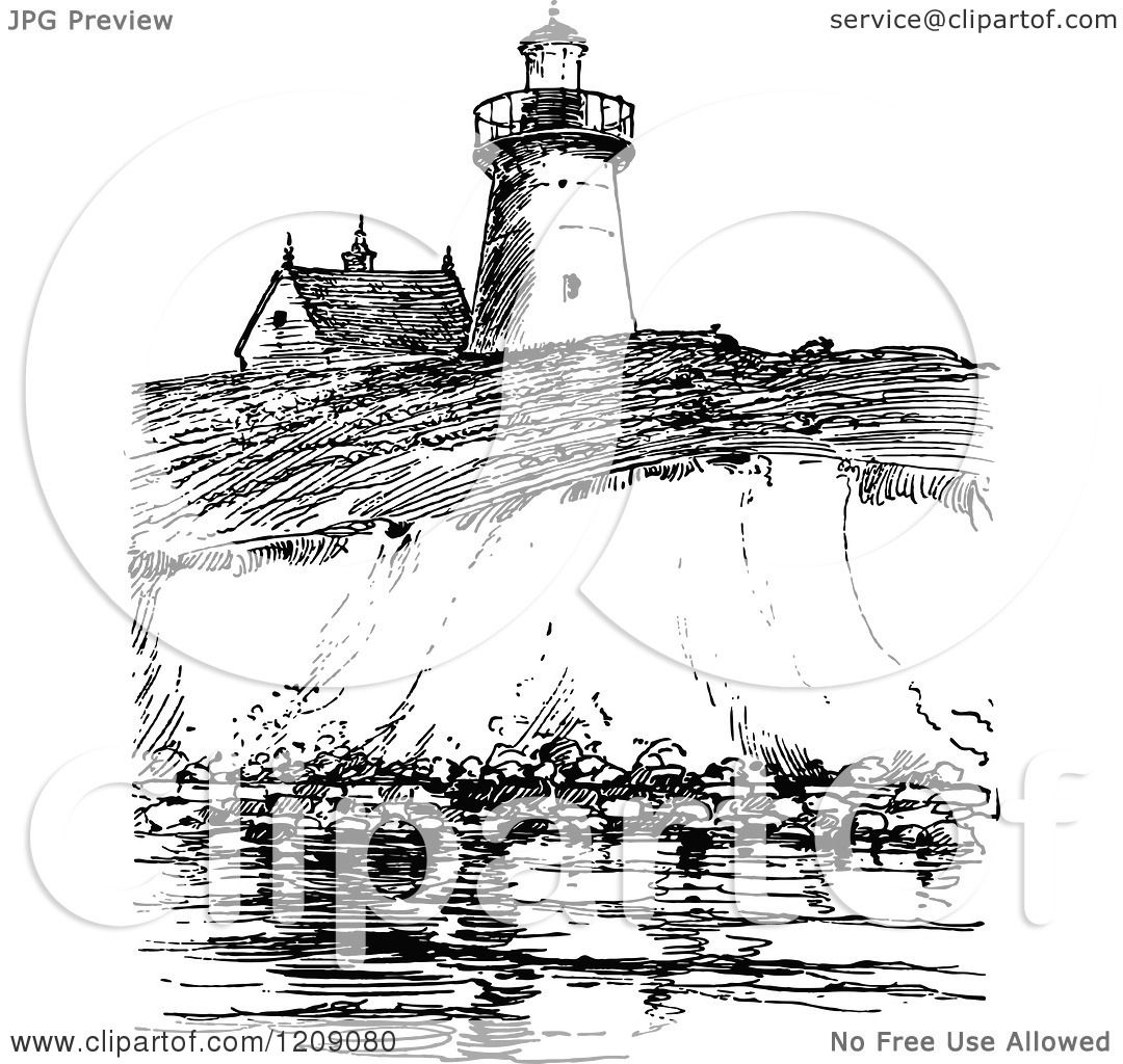 Clipart Of A Vintage Black And White View Of Long Island