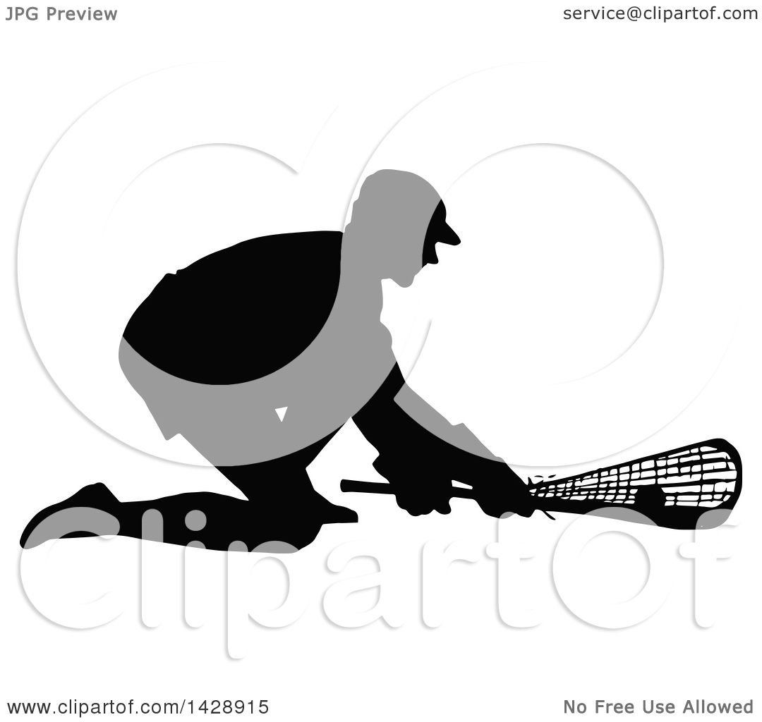 Clipart Of A Vintage Black Silhouetted Lacrosse Player