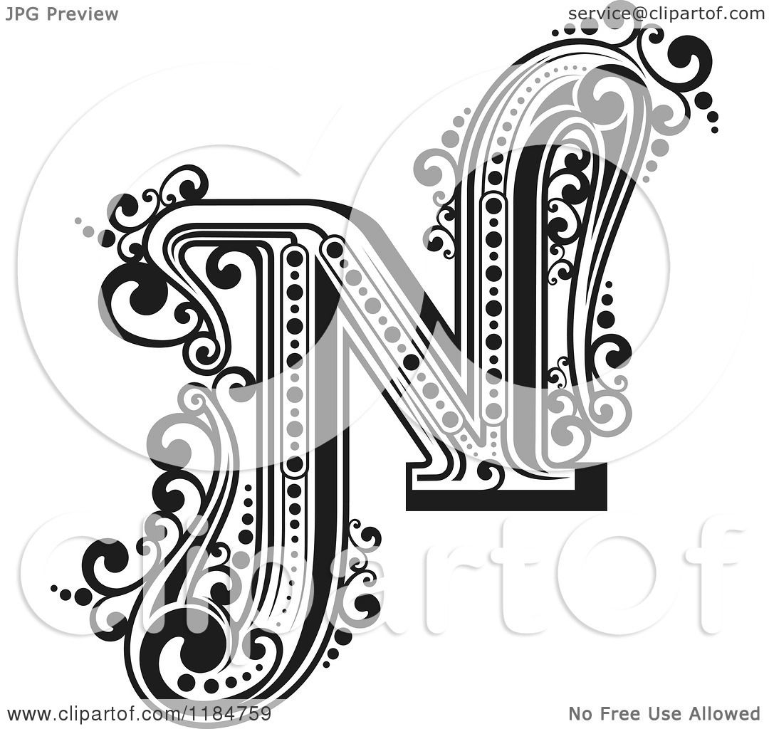 Clipart Of A Vintage Letter N In Black And White