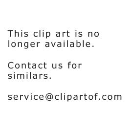 Clipart Of A White Outlined Tiger On A Green Ball And