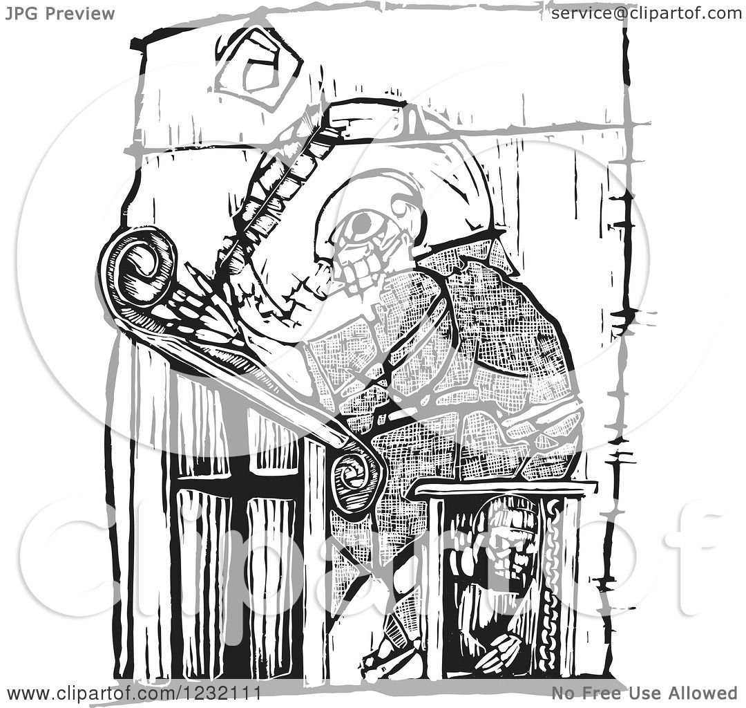 Clipart Of A Woodcut Monk Scribe Writing In Black And
