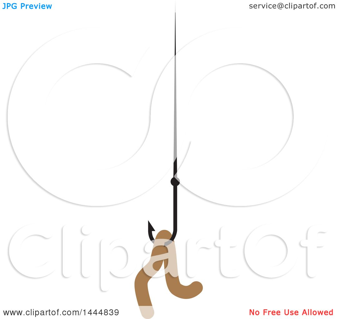 Clipart Of A Worm On A Fishing Hook