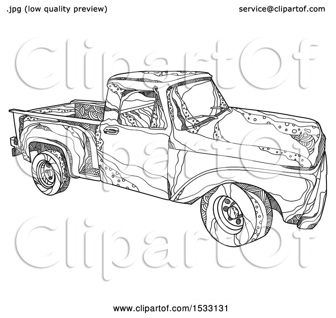 Clipart Of A Zentangle Pickup Truck Black And White
