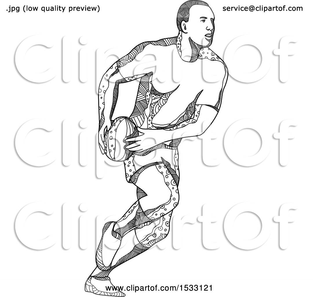 Clipart Of A Zentangle Rugby Player Passing Black And