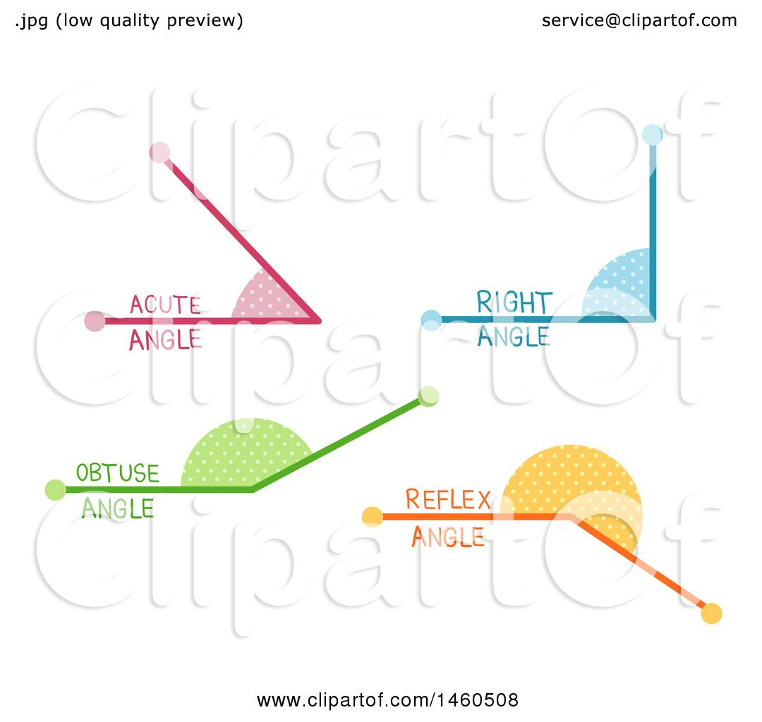 Clipart Of Acute Right Obtuse And Reflex Angles In