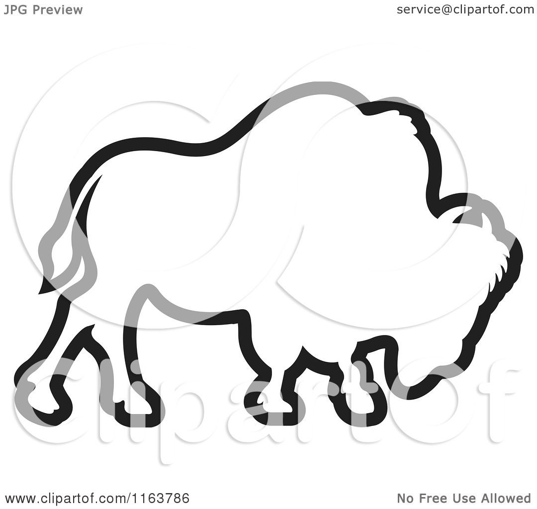 Clipart Of An Outlined Bison