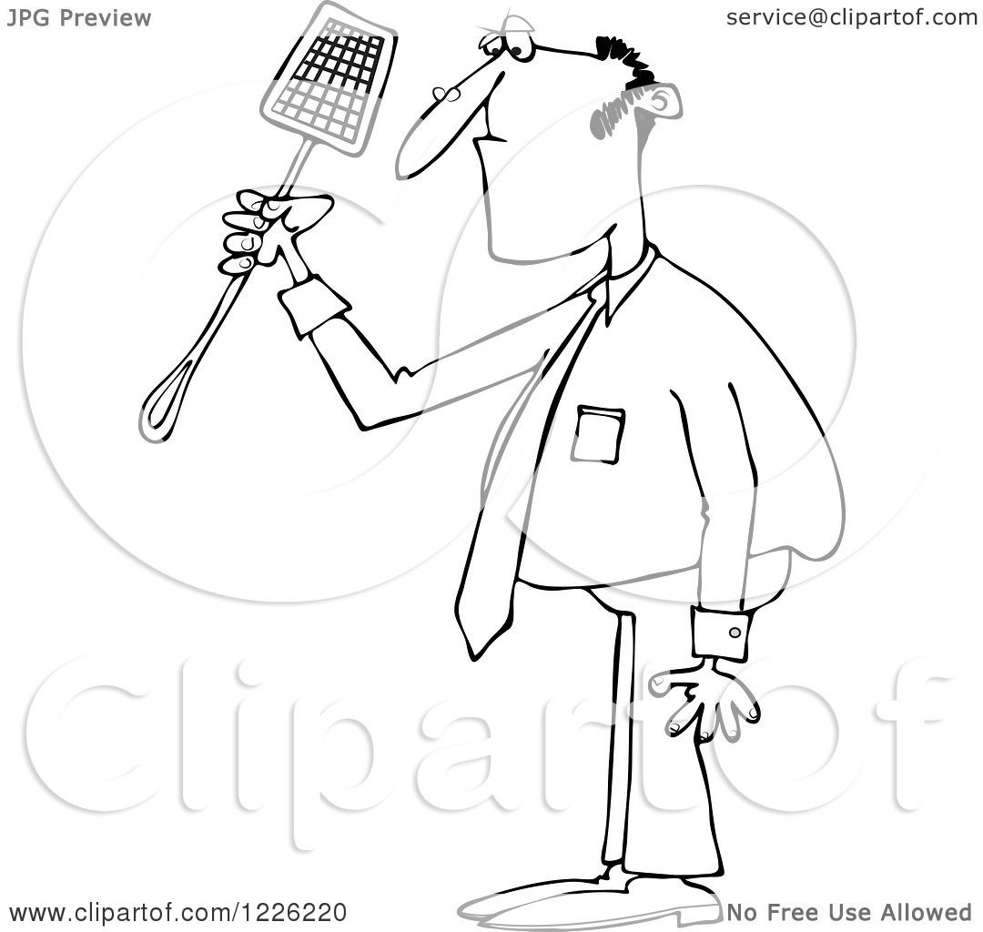 Clipart Of An Outlined Businessman Holding A Noose Fly