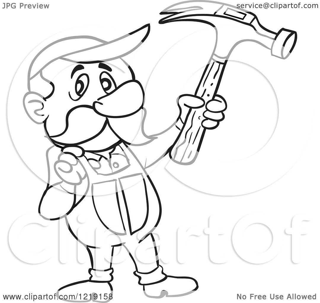 Clipart Of An Outlined Carpenter Man Holding Up A Hammer
