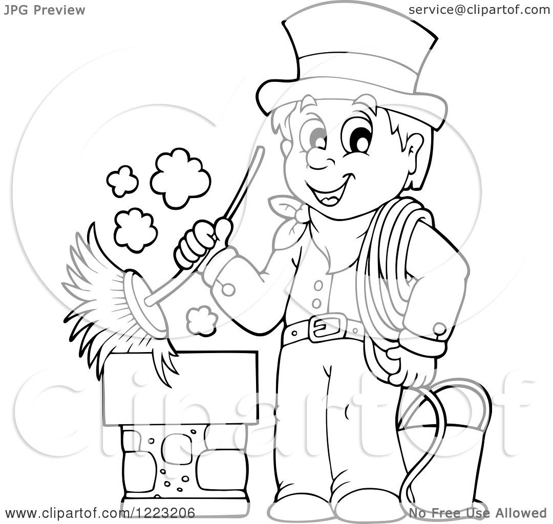 Clipart Of An Outlined Chimney Sweep Man Holding A Brush