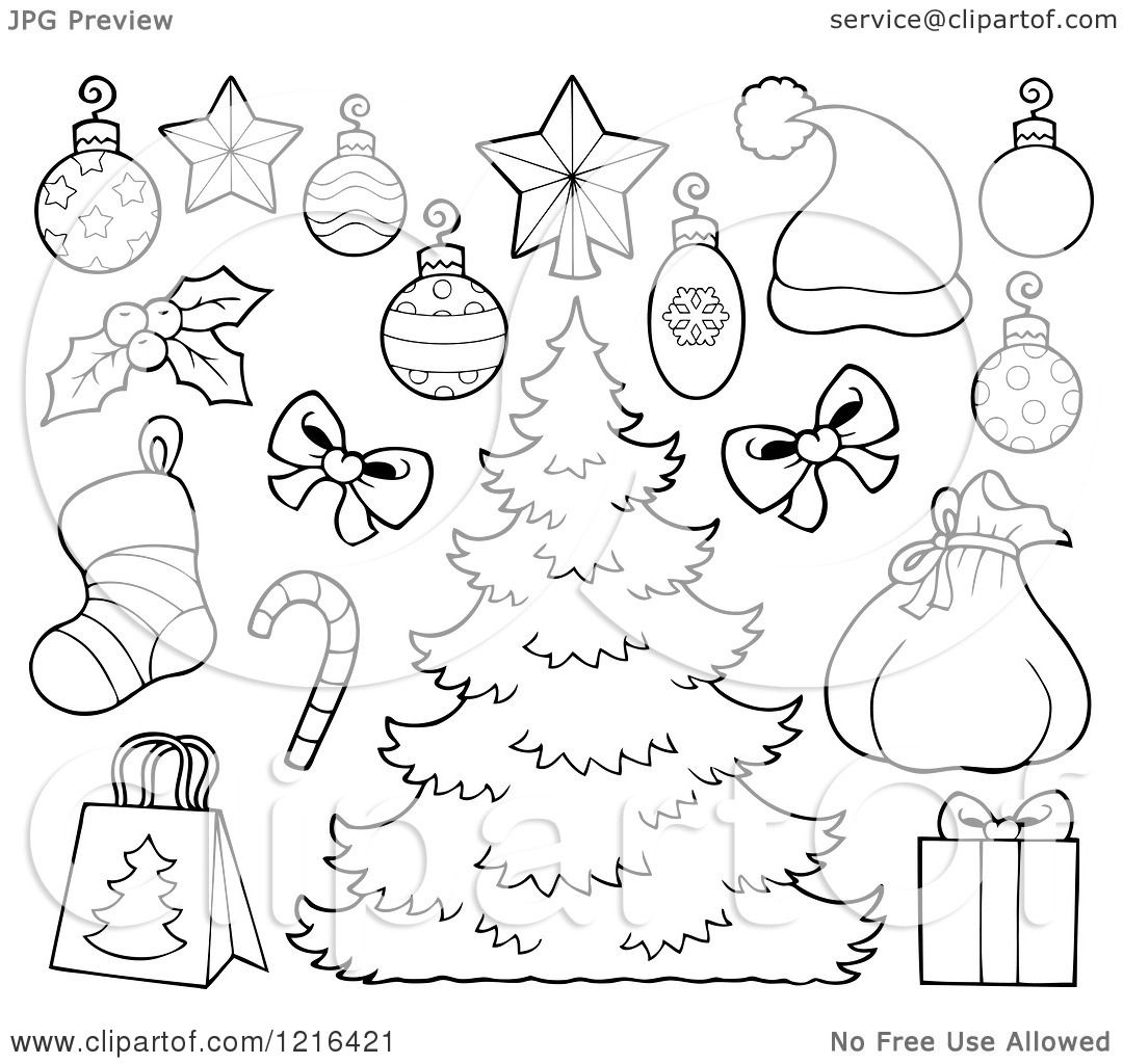 Clipart Of An Outlined Christmas Tree With Decorations And