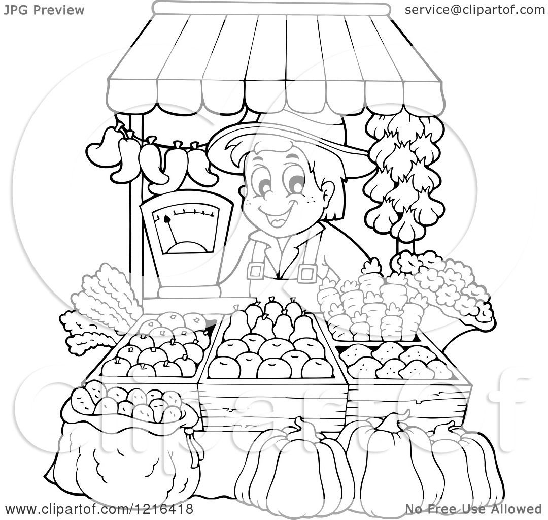 Clipart Of An Outlined Farmer Selling Produce At A Stand