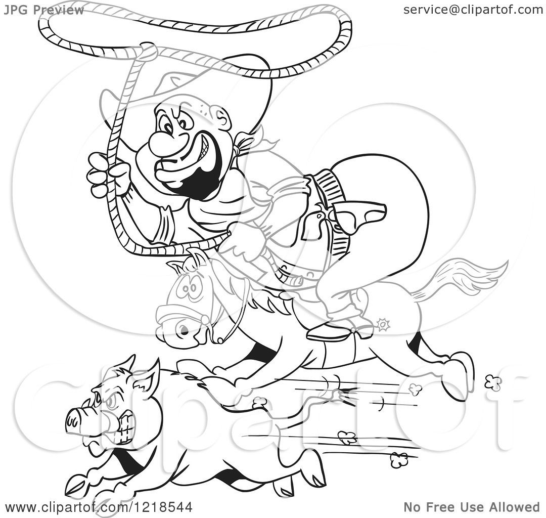 Clipart Of An Outlined Fat Horseback Cowboy Chasing A Boar