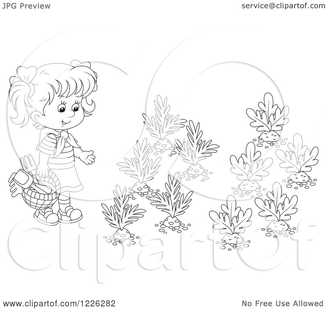 Clipart Of An Outlined Girl By A Vegetable Garden