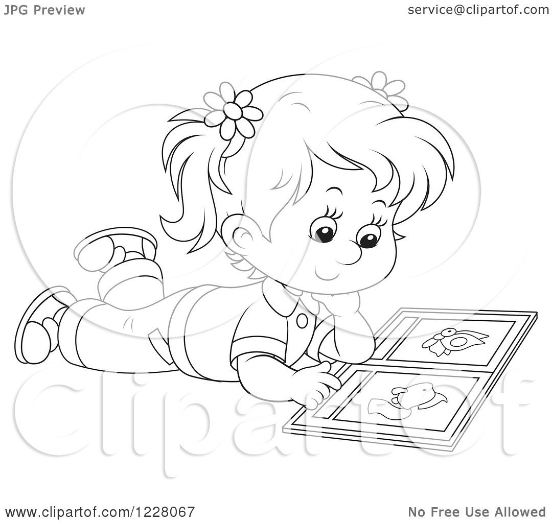 Clipart Of An Outlined Girl Reading A Picture Book