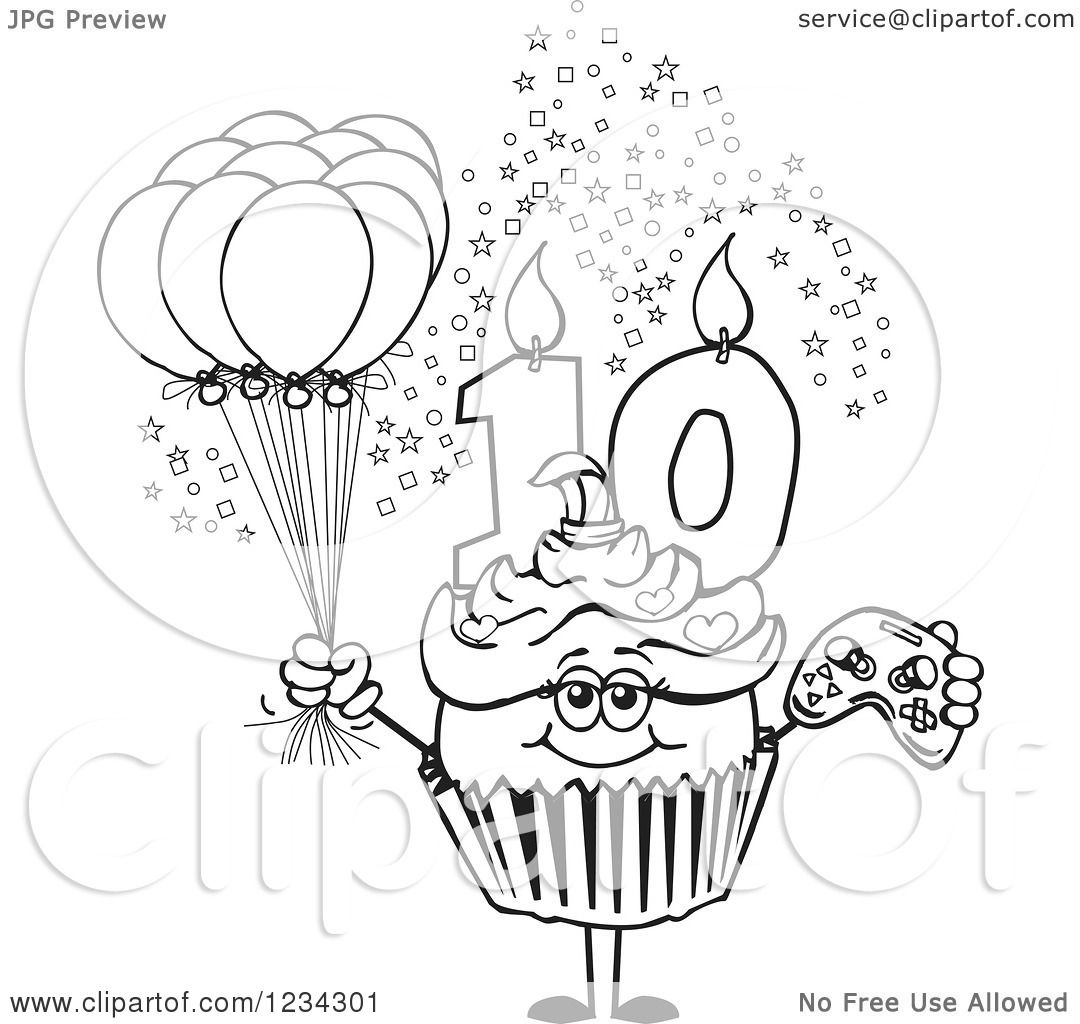 Clipart Of An Outlined Girls Tenth Birthday Cupcake With A