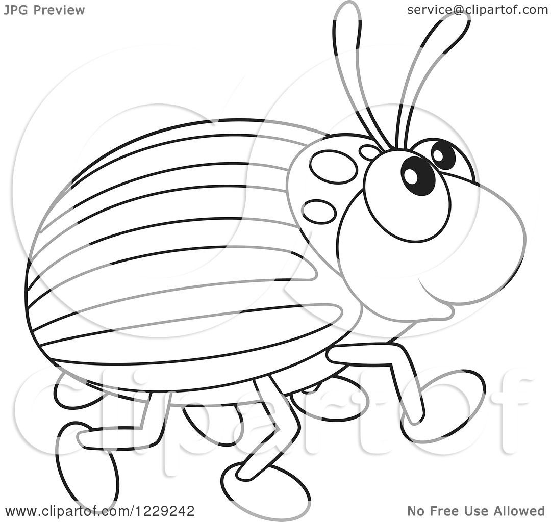 Clipart Of An Outlined Happy Beetle