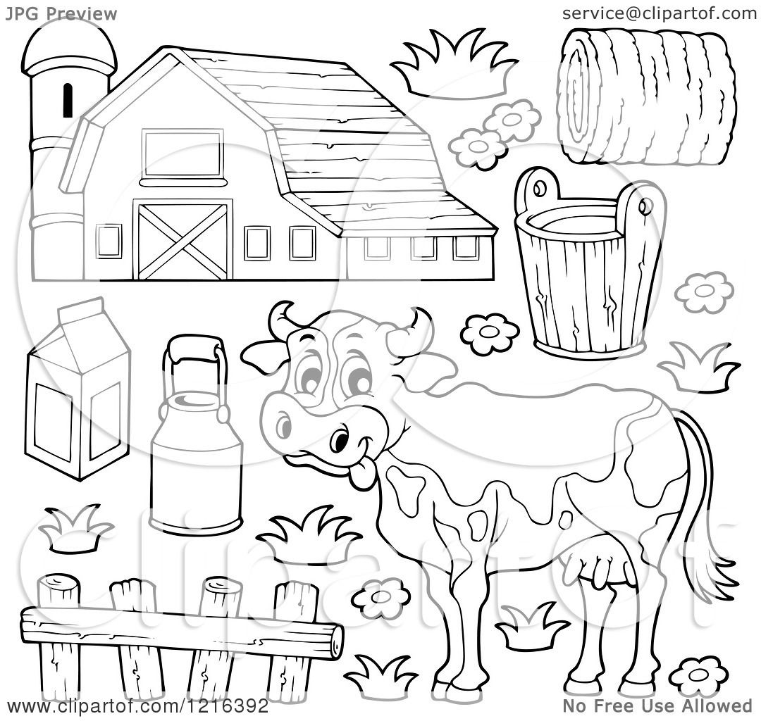 Clipart Of An Outlined Happy Cow With A Dairy Barn And